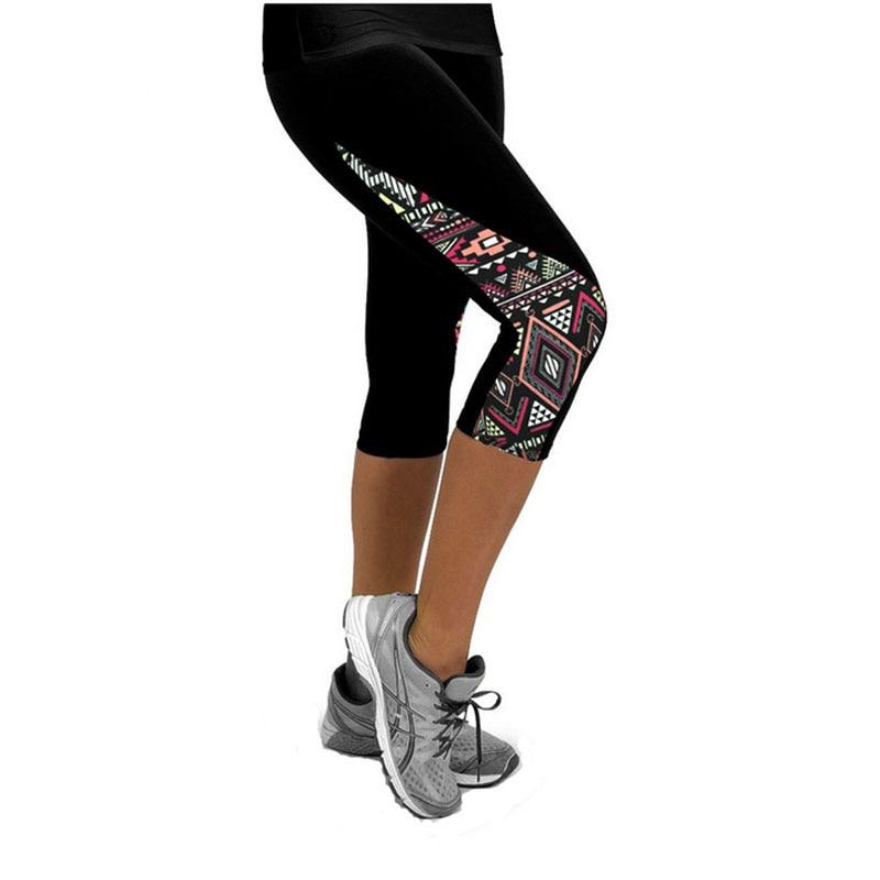 Women Ladies   Capri     Pants   High Waist Slim Fit Stretchy   Pants   Trousers Print Fitness Leggings Size S M L XL