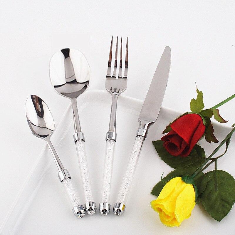 Ensemble de dîner 4 pcs/lot ensemble de vaisselle de luxe couverts occidentaux ensemble de cuisine en acier inoxydable couteau à gâteau/fourchette avec tige en cristal alimentaire