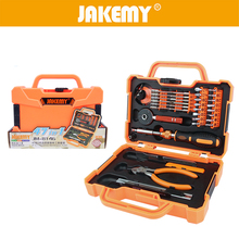 JAKEMY 47 in 1 Household Hand Tool Set Ratchet Wrench Plier Screwdriver Knife Tweezer Plastic Toolbox for Home Appliances Repair household tool ratcheting wrench set nut drill sleeve ratchet screwdriver 34 pcs of composite plastic packages