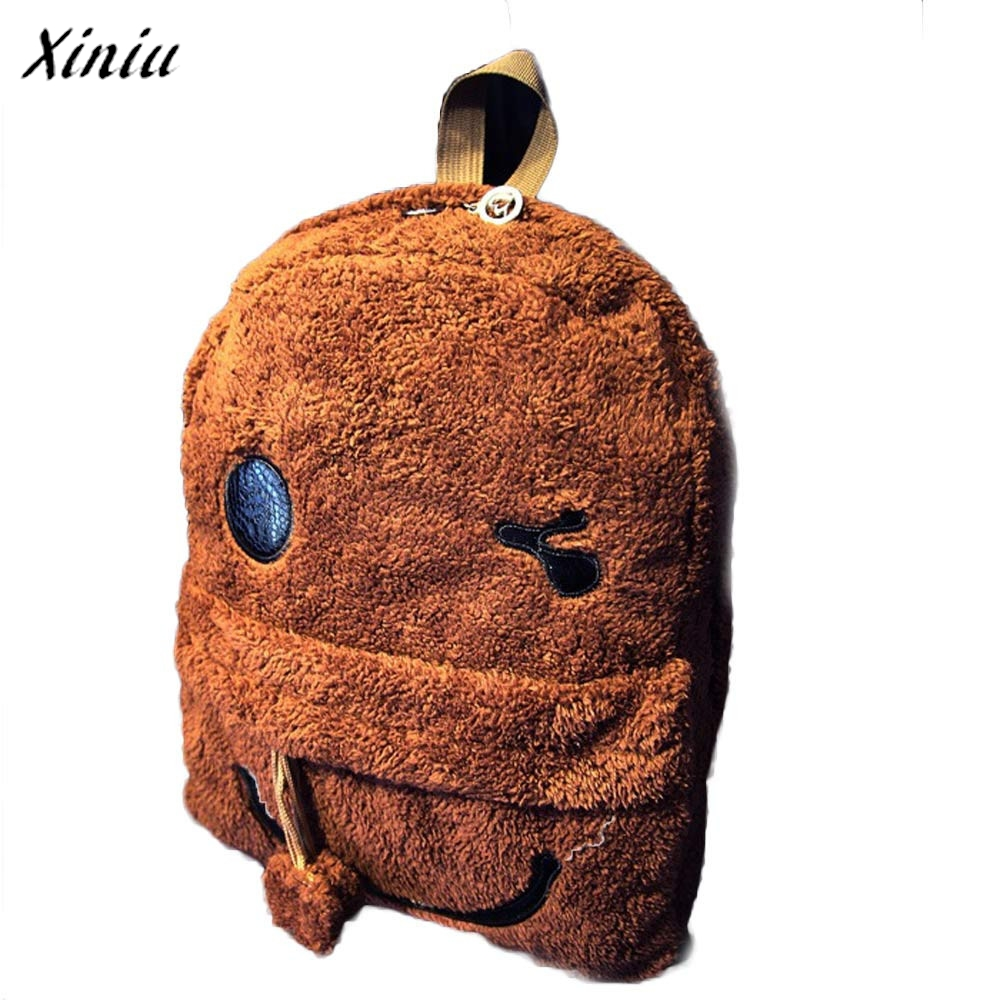 Печати холст рюкзак Для женщин Дамы Обувь для девочек рюкзак мило путешествия сумка Плюшевые Сумка Рюкзак