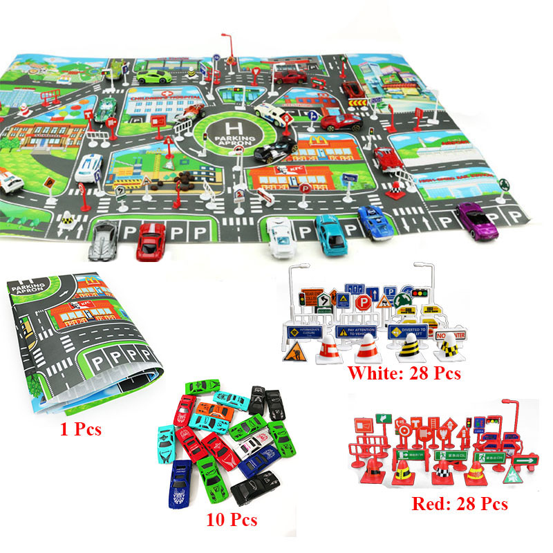 67 Pcs/ensemble Ville PARKING LOT Feuille de Route VOITURE Jouets Modèle De Voiture Escalade Tapis Anglais Version Jouet Éducatif Cadeaux pour Enfants