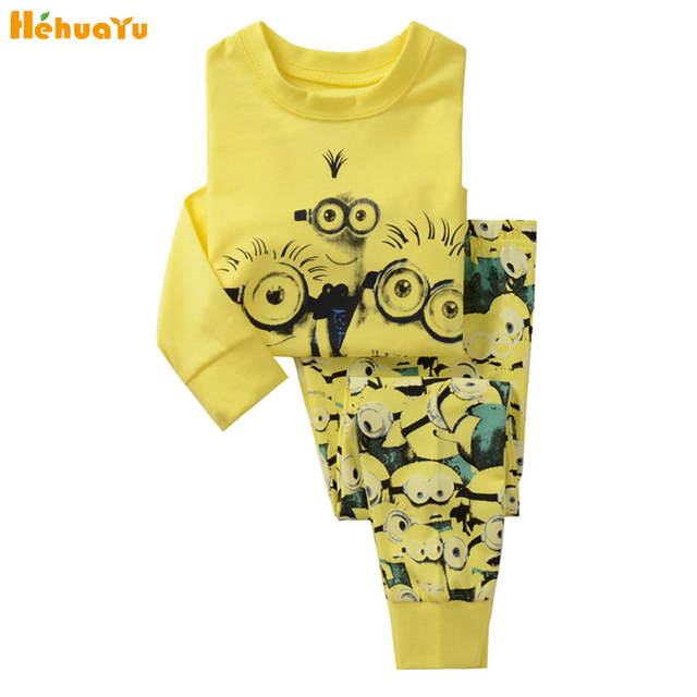 cc64412f96a1 Kids Fashion Casual Small Yellow Man Printing Long Sleeves+Pants Home  Clothes Pajamas Cozy Pure Cotton Children Clothing Set2-7T