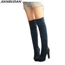 JIANBUDAN 여성 스트레치 부츠 가을 겨울 하이힐 여성 무릎 부츠 2020 패션 섹시한 허벅지 높은 부츠 크기 34 43