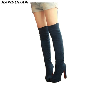 Image 1 - JIANBUDAN female Stretch boots autumn winter High heel women Over the knee boots 2020 fashion sexy thigh high boots Size 34 43