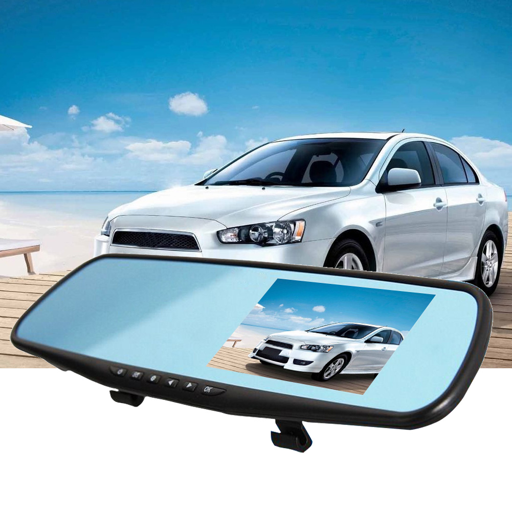 4.3 inch 1080P Car Mirror DVR Dual Lens Front And Back Camera Car Rear View Car Camera DVR Video Recorder Car-styling free shipping g sensor h 264 hdd 4ch 720p ahd car dvr video recorder metal rear side front view car camera system car monitor
