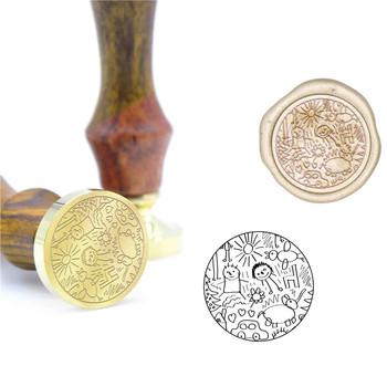 Dzieci odręczne szkicowanie obraz rysunek pieczęć woskowa prezent pieczęć B32 wosk na zamówienie pieczęć początkowa pieczęć drewna uchwyt DIY starożytna pieczęć tanie i dobre opinie CN (pochodzenie) Metal Tak ( 50 sztuk) Sealing Wax Stamps