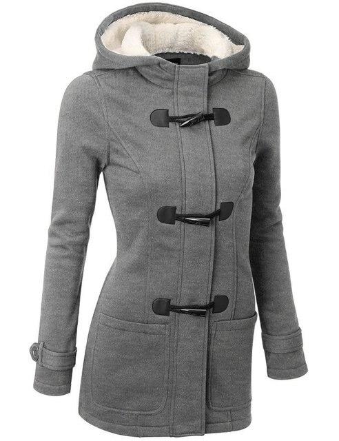 315edfd55319 Winter Jacket Women Hooded Winter Coat Fashion Autumn Women Parka Horn  Button Coats