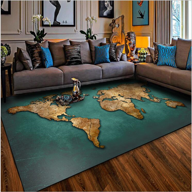 AOVOLL Carpet And Rugs For Home Living Room American Retro Green Gold Old World Map Door Mat Bedroom Living Room Carpet Mat