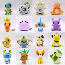 16 unids/lote 11-18CM muñeca juguetes Jirachi Cubone Charmander Snivy Ditto Froakie Anime juguetes de película de felpa Peluches