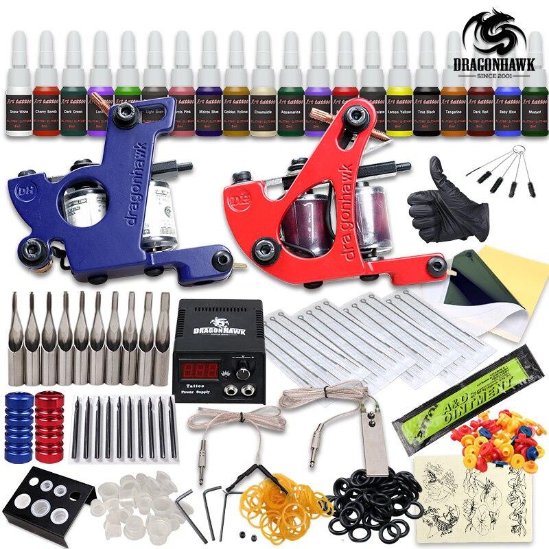 Professional Tattoo Kit 2 Machine Gun 20 Color Inks Power Supply Complete Tattoo Kits beginner tattoo kit 1 machine gun 4 inks needles tattoo power supply d1025gd 2