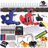 Complete Tattoo Kit 2 Machine Gun 20 Color Inks Power Supply