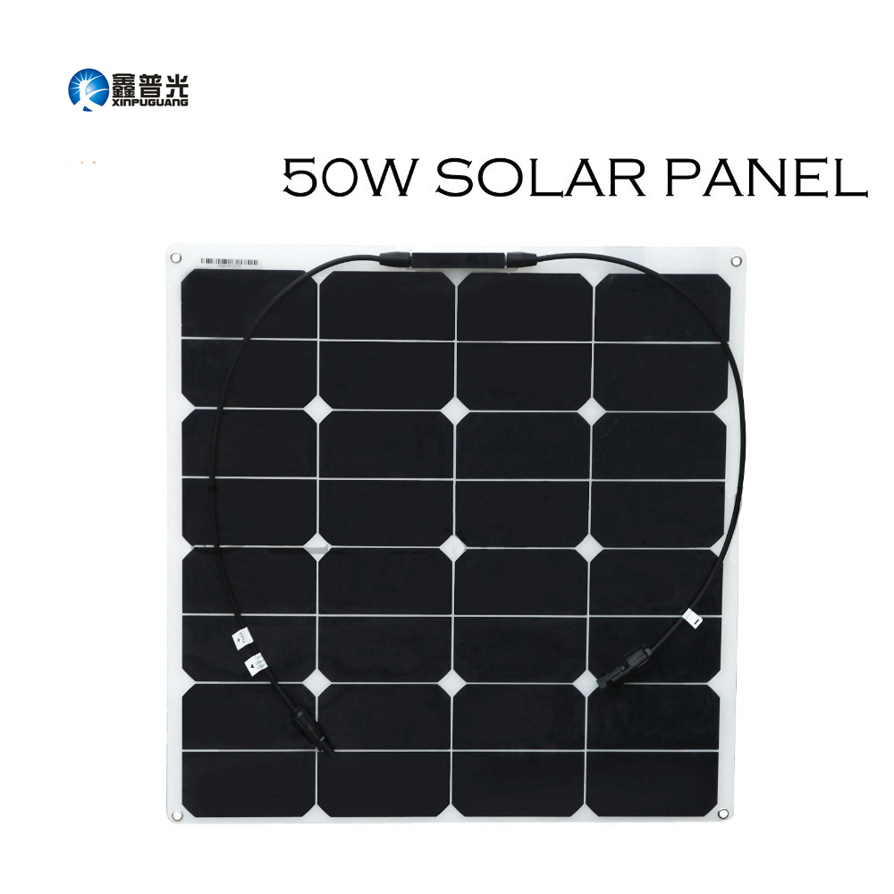 Xinpuguang 50W 18V Flexible Solar Panel Light Smooth Surface PV for Outdoor Sport Travel Marine Yacht RV Motor Home Battery Use