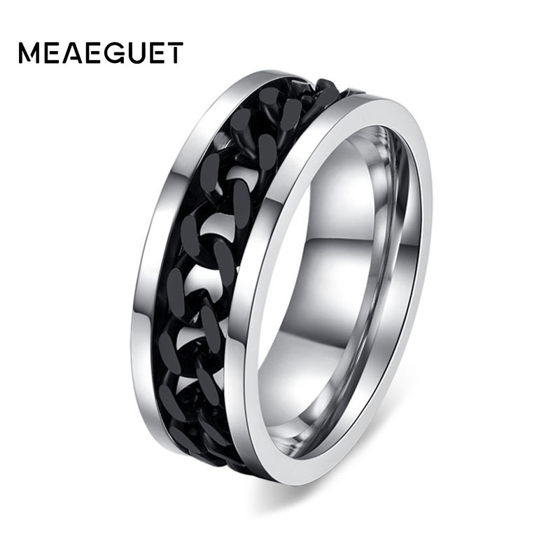 10pcs/lots Men's Chain Ring Spinner Stainless Steel Gold Silver Black Wedding Brand Male Finger Accessories US Size 6 To Size 15 simple retro fashionable personality stainless steel couple rings silver black us size 9 7