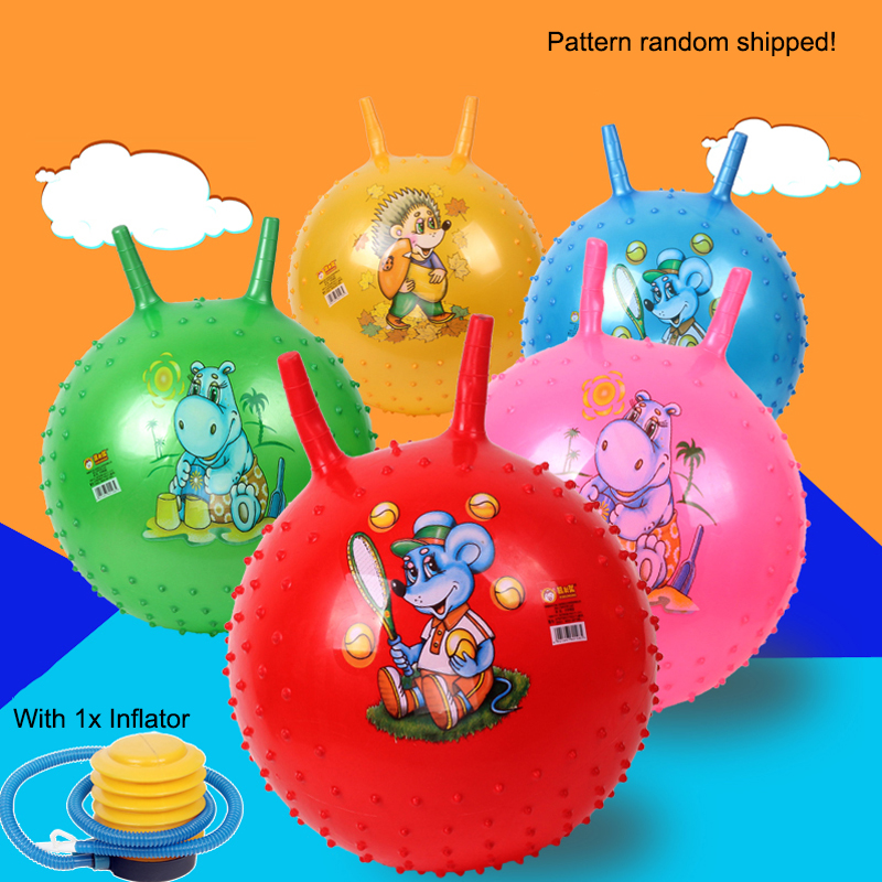45cm Lovely bouncing ball with handle massage horn inflatable toy child cartoon animal character print baby jump play game sport flashing jumping ball outdoor fun sport toy bouncing balls for kids child sport movement ankle skip color rotating ball 5 color
