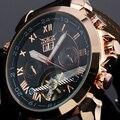 Мода JARAGAR мужская Кварцевые Часы Дата Кожа Турбийон Маховик Авто Механические Мужчины Watche Наручные Часы Подарочная Коробка 2016 Новый