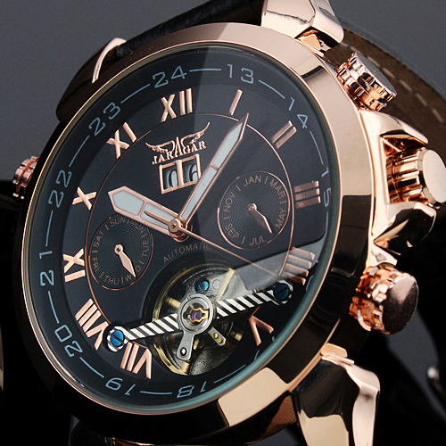 Fashion JARAGAR Menns Brand Watches Date Leather Tourbillon Flywheel Auto Mekanisk Menn Watche Armbåndsur Gave Box