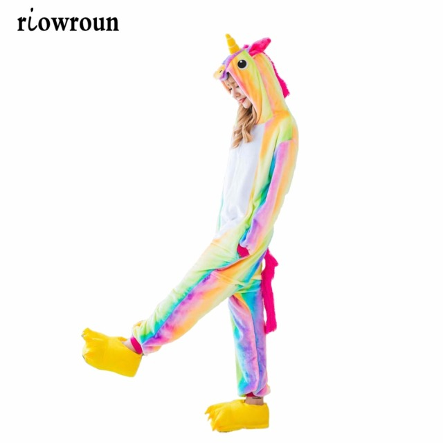 Adult Kigurumi Onesie Anime Women Costumes Cosplay Cartoon Animal Sleepwear Stitch Star Unicorn Pikachu Winter Warm Hooded 2018