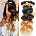 Luvin Brazilian Virgin hair 4 Bundles Ombre Hair Extension Brazilian Body Wave Virgin Hair 3 Tone Ombre Human Hair 1B 4 27 Color