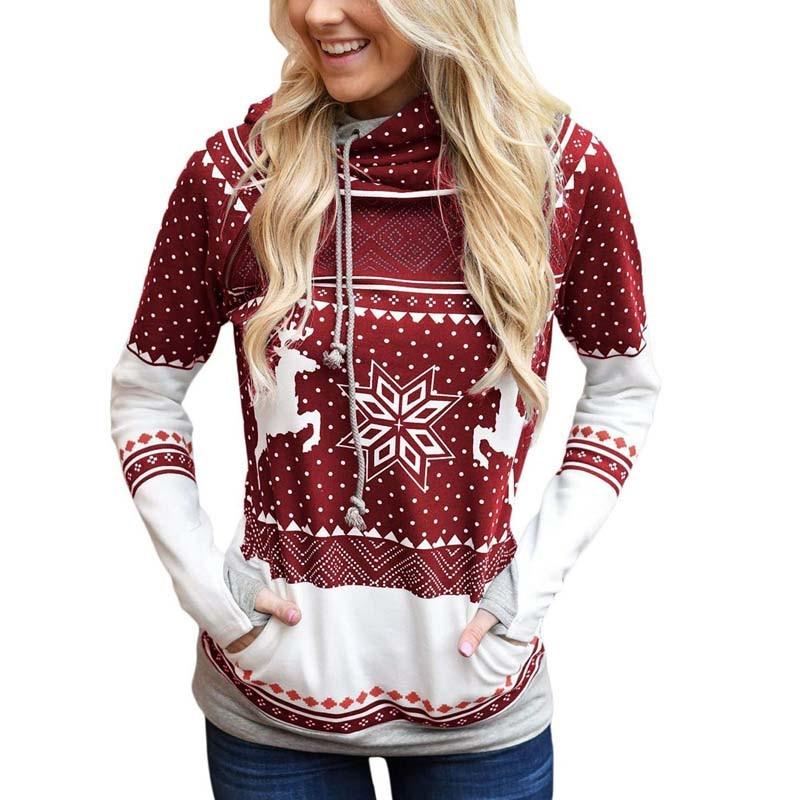 Hoodies & Sweatshirts Christmas Hooded Sweatshirt Womens Snow Deer Hoodies Femme Pull Pullover Autumn Winter Pocket Printed Sweatshirts 6q2415
