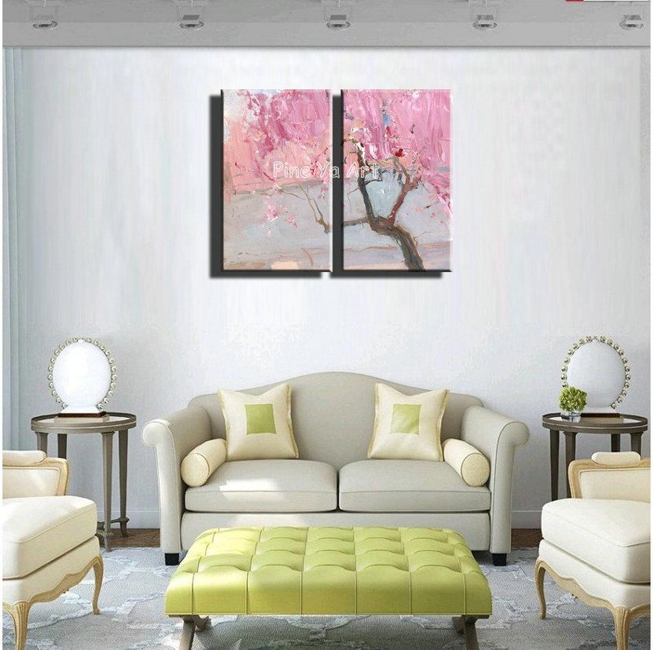 2 piece font b Knife b font paint pink cherry blossom abstract modern wall art handmade