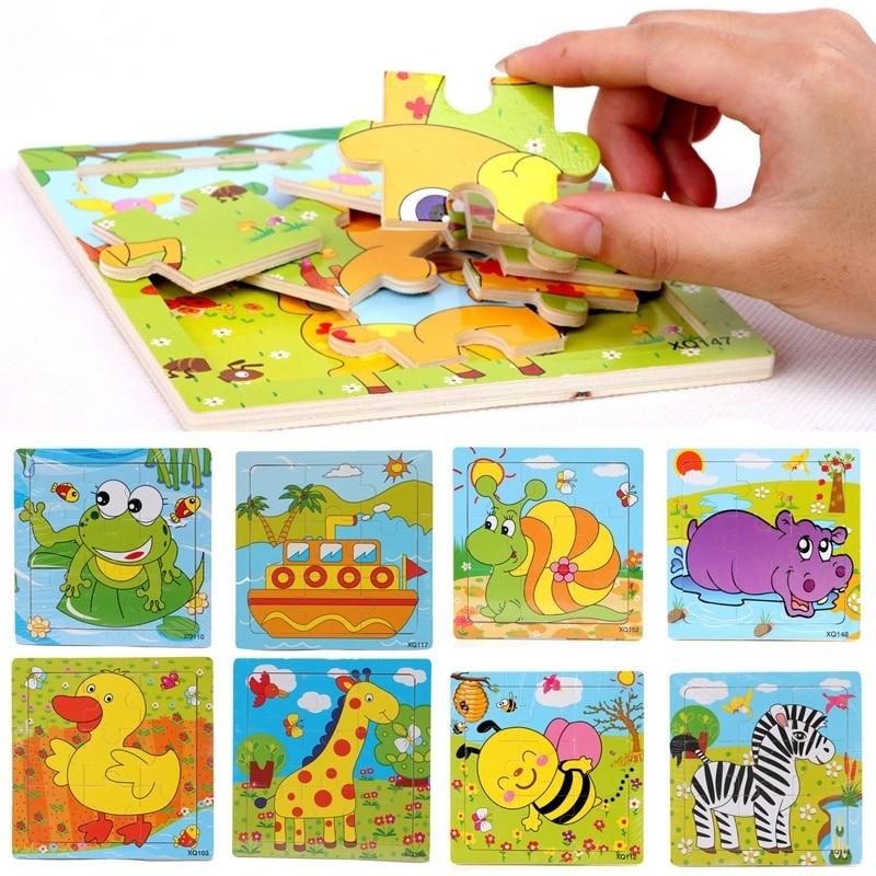 Мультфильм животных деревянные головоломки деревянные игрушки для детей развивающие игрушки деревянные головоломки игрушки подарки ...