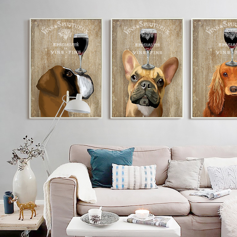 12 Diy Painting Ideas That Will Help You To Upgrade The: Cute Dog Wall Drawing Canvas Printings Diy Oil Painting
