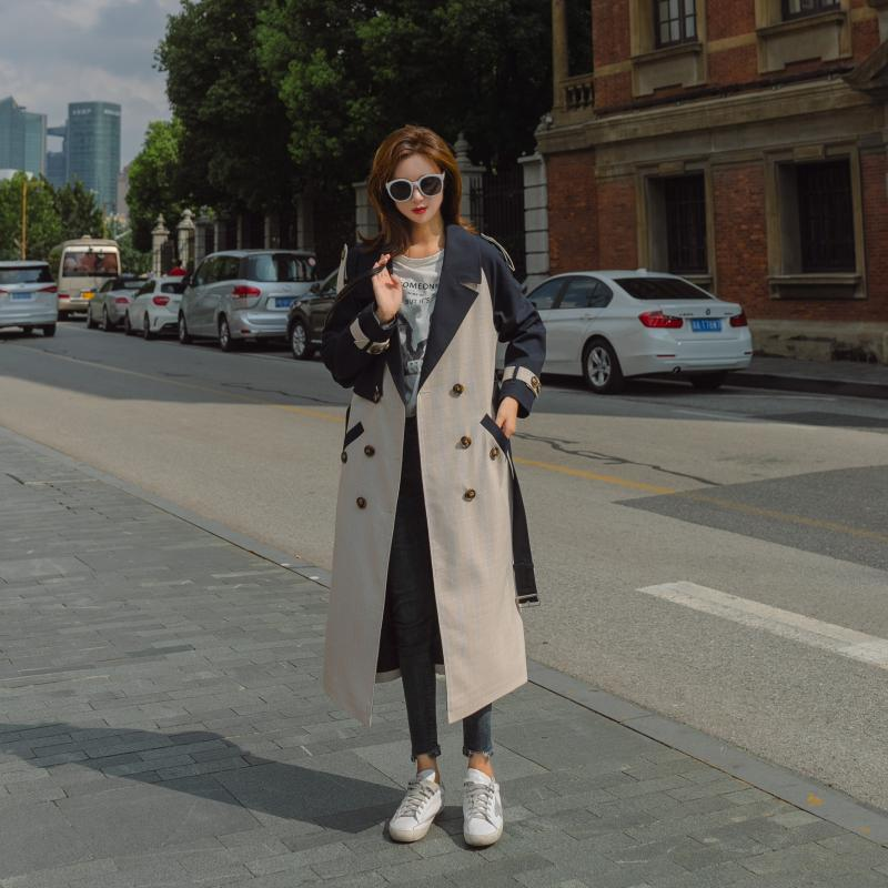 Korean Women Loose Large Size Knee-length Coat 2019 Autumn Plaid Matching Color   Trench   Coat Pockets Epaulet Double Breasted