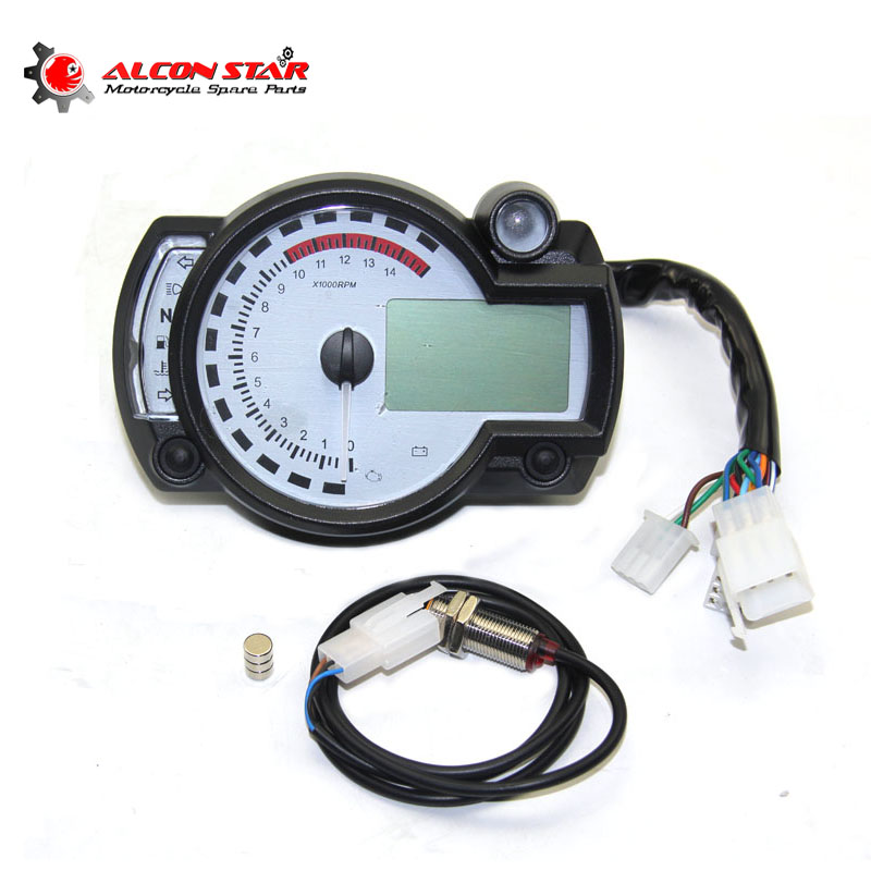 Alconstar-White Panel Tənzimlənən Motosiklet Rəqəmsal sürətölçən KOSO RX2N Oxşar LCD Ölçü Odometr Aləti 299 MPH / KPH NMAX
