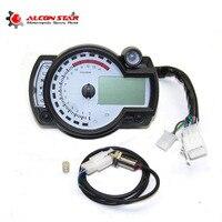 Alconstar White Panel Adjustable Motorcycle Digital Speedometer KOSO RX2N Similar LCD Gauge Odometer Instrument 299 MPH/KPH NMAX