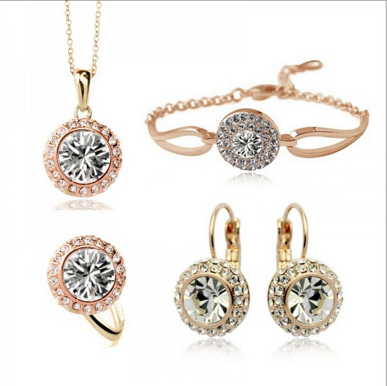 gold-color Rhinestone Crystal Romantic Moon Crystal Weddings Jewelry Sets Wholesales Fashion Jewelry for women