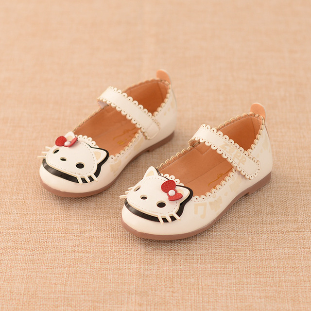 2017 Girl Shoes Cute Cat Princess Shoes Kids Baby Shoes For Children'S Single Shoes Spring/Autumn Fashion Leather Smart Shoe