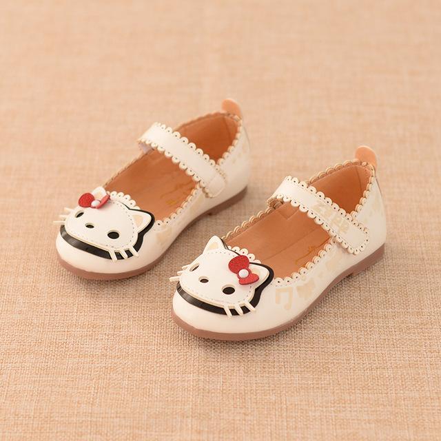 2017 menina shoes gato bonito da princesa shoes crianças shoes para crianças do bebê único shoes primavera/outono de couro da moda sapato inteligente