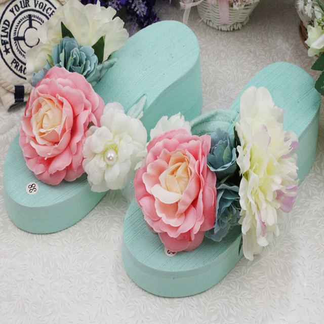 23624f806f68b0 Sale top summer women Mint green flowers with thick slope bottom flip flops  seaside beach slippers new Muffin bottom sandals