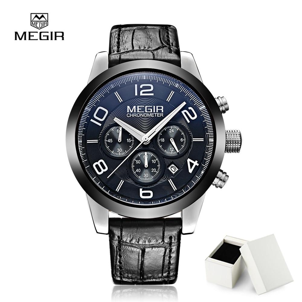 MEGIR Sport Men Watch Top Brand Quartz Watches Genuine Leather Chronograph Waterproof Relogio Masculino Fashion Clock Men 2025 куртка блузон quelle laura scott 665479