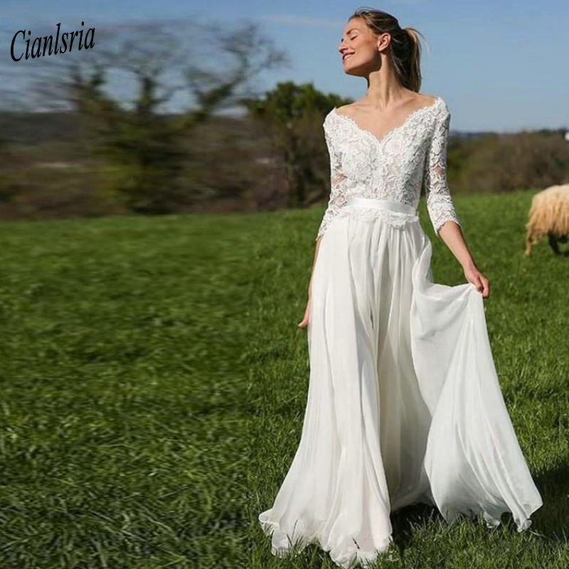 2019 V-Neck Off The Shoulder Backless Country Wedding Dresses Appliques Lace Three Quarter Sleeve Chiffon Bohemian Wedding Dress