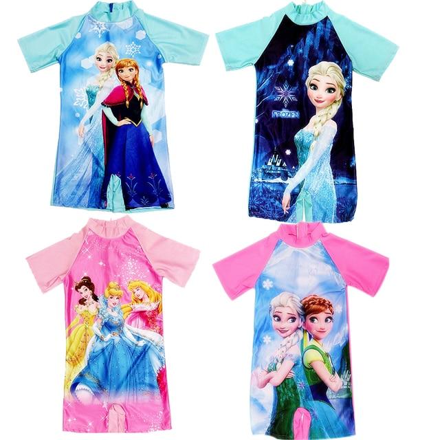 3ef01954670ea 4-11Y Baby Girls Swimsuit One Piece Bikini Cute Anna Elsa Princess Dress  Cartoon Pattern