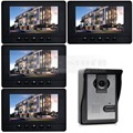 DIYSECUR 7inch Video Intercom Video Door Phone Doorbell 600 TVLine IR Night Vision Camera 4 Monitors 800 x 480 Black