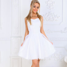 New Women Formal Dress Summer A-Line Prom Party Wedding Ball Gown Short Sleeve Short Mini Dresses Sweet Solid Black Pink White(China)