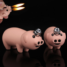 Creative Compact Little Piggy Jet Lighter Butane Pig Inflated Dual Nozzles Free Fire Bar Metal Funny Toys No Gas