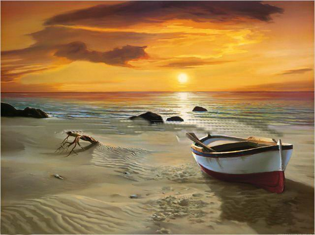 Musuem Quality Wall Art Painting The Beach Boat And