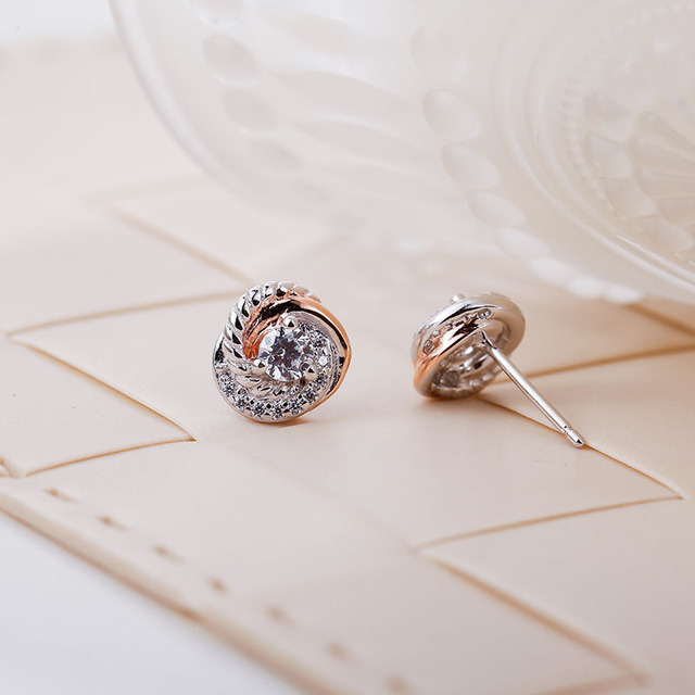 SA SILVERAGE Real 925 Sterling Silver Stud Earrings Rose Gold Color Fine Jewelry Love Circle 925 Silver Stud Earrings for Women