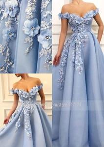 Image 2 - Fantasie 3D Blumen Prinzessin V ausschnitt A linie Prom Kleid mit Perlen Lace up Zurück Bodenlangen Party Kleid Abendkleid