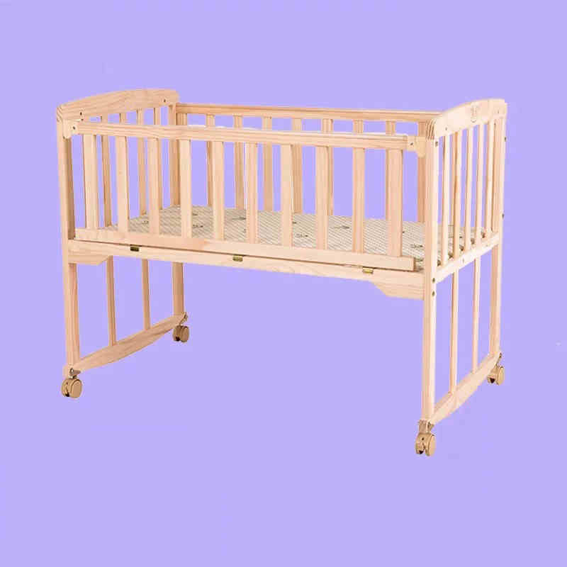 Amazing Natural Color Baby Bed Pine Wood No Paint Baby Crib Can Be Baby Desk Baby  Cradle Images