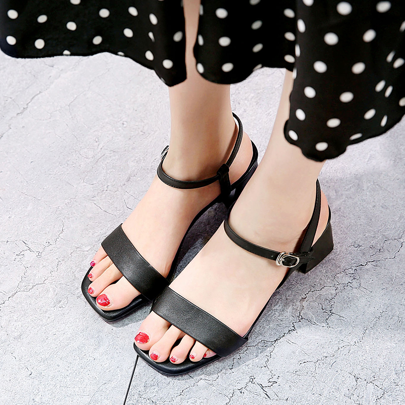 EGONERY student cozy gem blue woman sandals 2019 summer white wedding shoes fashion cute girl orange 5.5cm med heels women shoes-in Middle Heels from Shoes    3