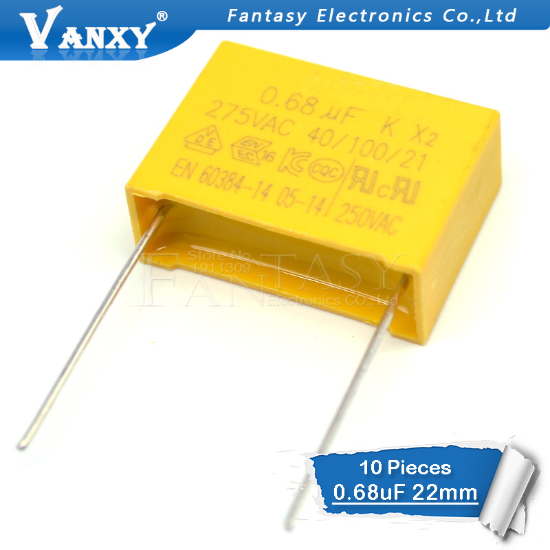 10pcs 0.68uF  10pcs Capacitor X2 Capacitor 275VAC 680NF Pitch 22mm X2 Polypropylene Film Capacitor 0.68uF