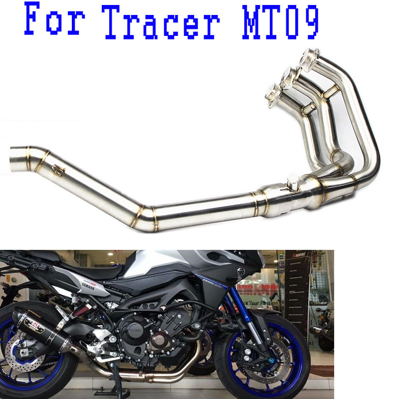 MT 09 Tracer MT09 Exhaust Muffler Link Mid Pipe Motorcycle For YAMAHA MT-09 FZ-09 2014 2015 2016 2017 2018 14-18 Years Slip-on image