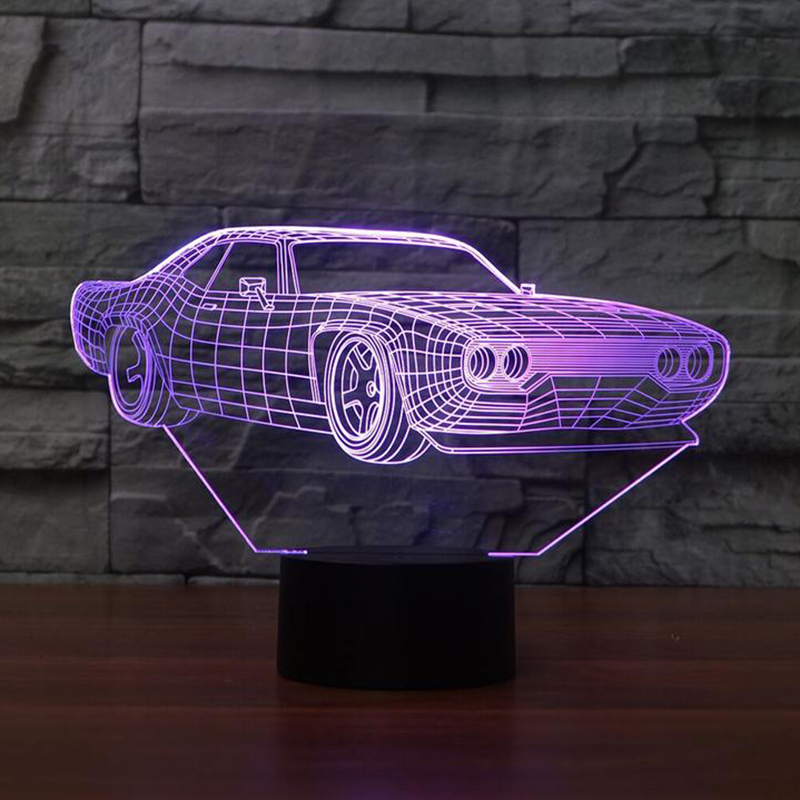 7 Color Change Home Decor Light Fixture LED Car Shape Light USB 3D Luminarias Vehicle Modelling Night Light Baby Sleep Desk Lamp 3d luminous ice hockey player shape led table lamp 7 colors changing home living room decor light fixture baby sleep night light