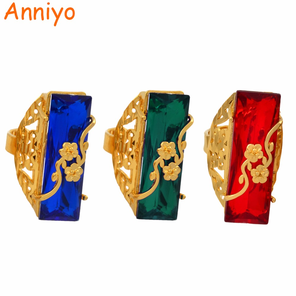 Anniyo ONE PIECE / Red Blue Green Stone Ring for Women Girls Gold Color Arab Rings African Jewelry Ethiopian Wedding #053306