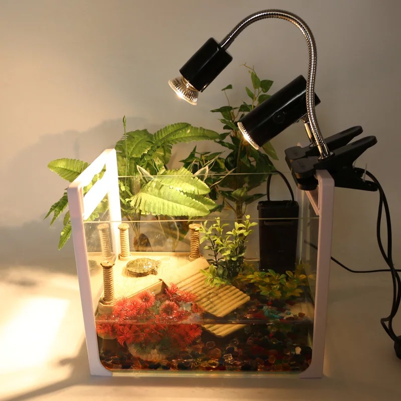 EU US UVA+UVB 3.0 Adjust Temperature Lamps Turtle Reptile Heat Back Light Tortoise Calcium Solarium Heater Thermometer Aquarium