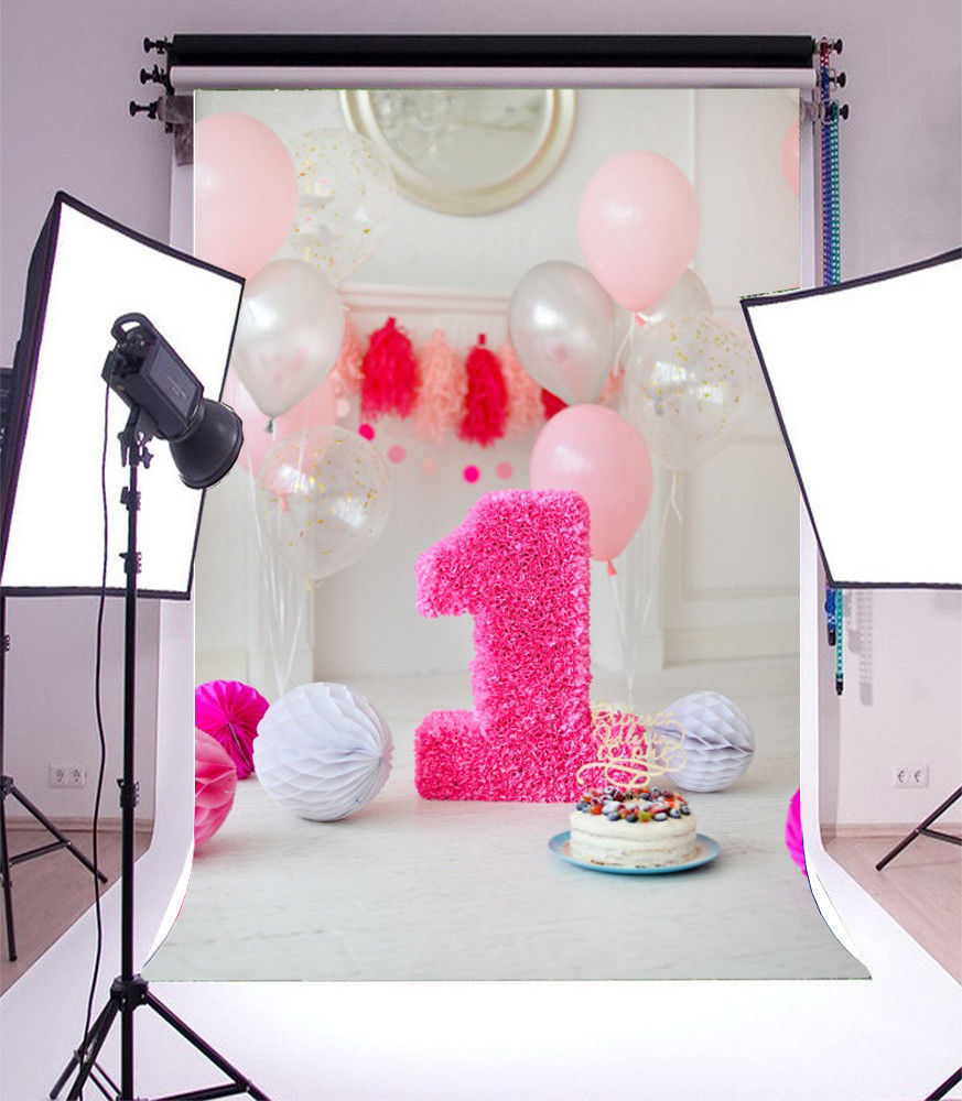 1st baby first birthday balloon cake room  photo studio background Vinyl cloth High quality Computer print wall backdrop